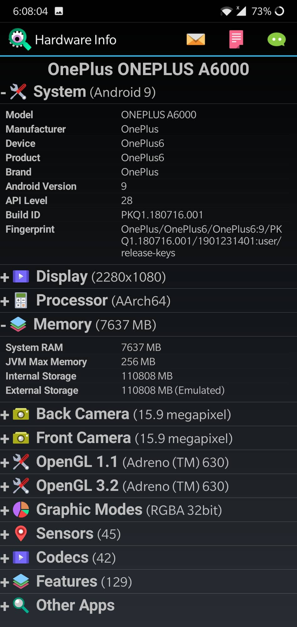 check RAM of an Android phone
