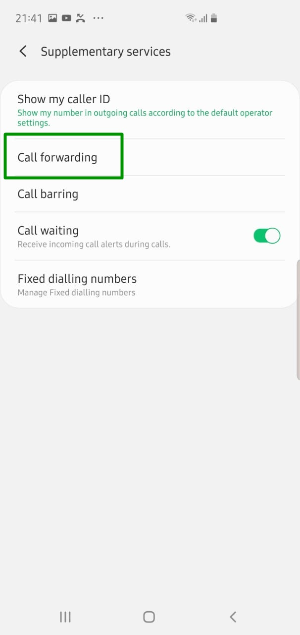 enable or disable call forwarding galaxy s10 s10+ 2