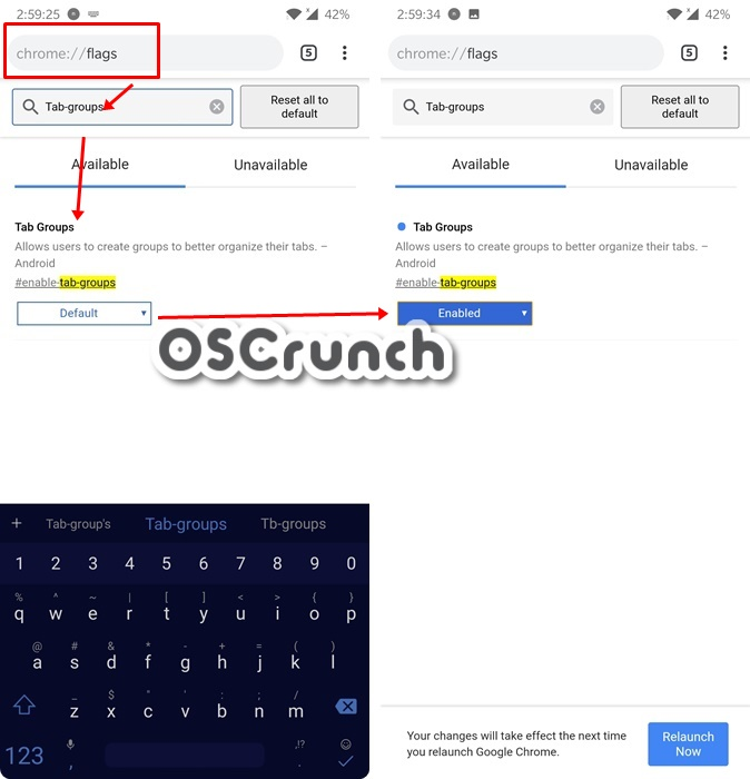 enable tab groups in chrome android browser