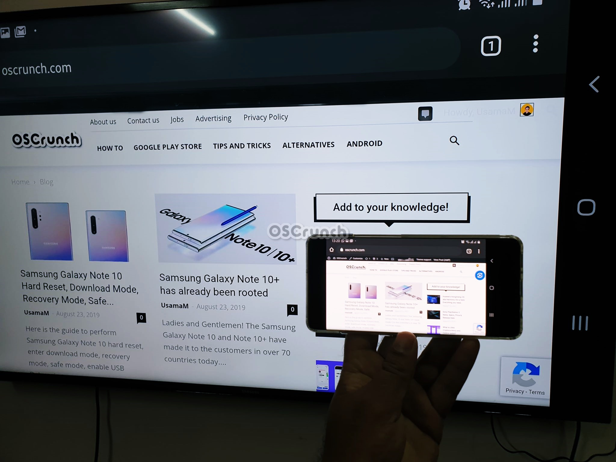 turn on screen mirroring on Galaxy Note 10 and connect it to Smart TV