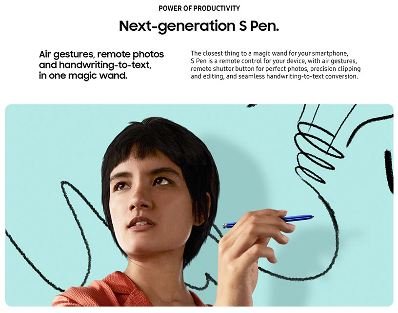The S Pen of Galaxy Note 10