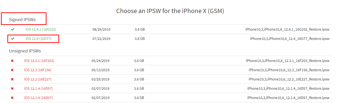 downloading iPSW file for iPhone/iPad