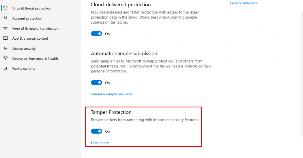 enable Windows 10 Tamper Protection